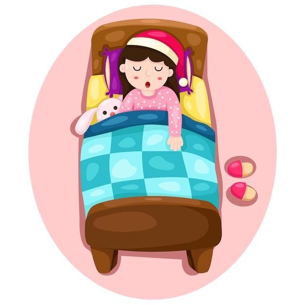 Illustrator of girl sleeping Premium Vector
