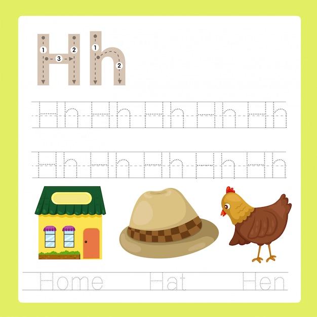 Illustrator of h exercise a-z cartoon vocabulary Premium Vector