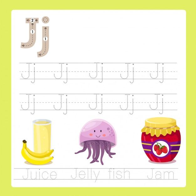 Illustrator of j exercise a-z cartoon vocabulary Premium Vector