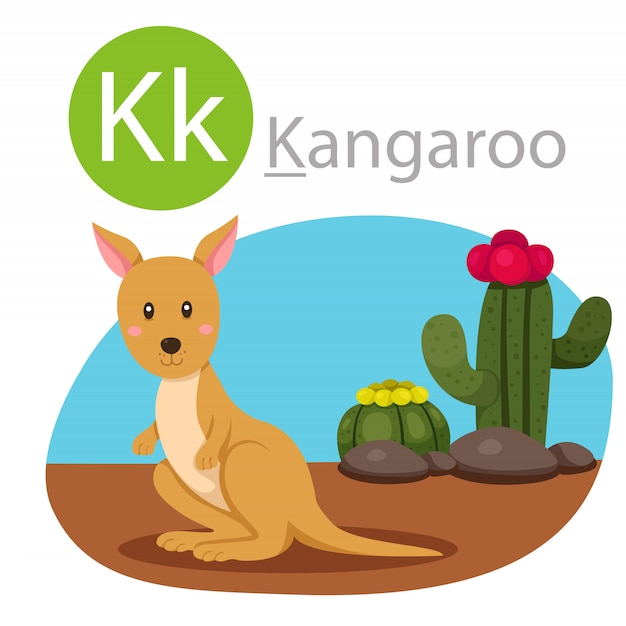 Illustrator of k for kangaroo animal Premium Vector