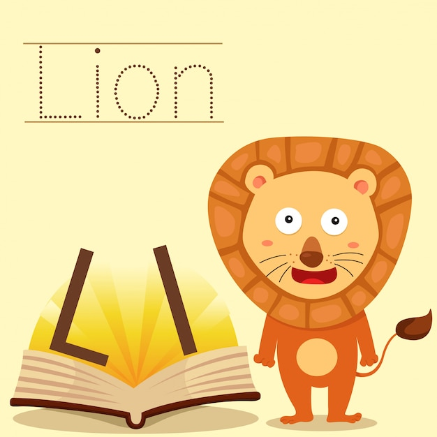 Illustrator of l for lion vocabulary Premium Vector