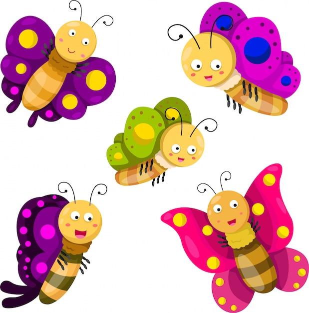 蝶の漫画セットのイラストレーター Premiumベクター