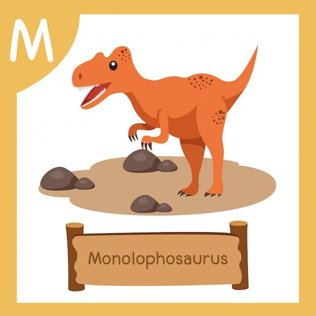 恐竜モノロフォサウルスのmのイラストレーター Premiumベクター