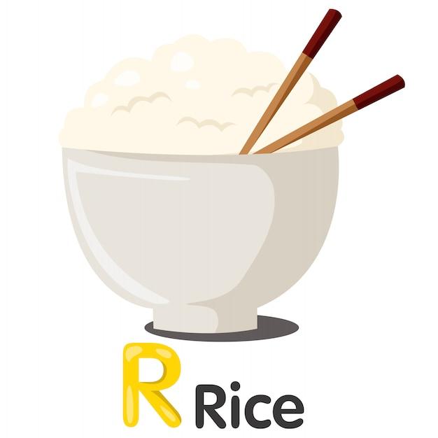 Иллюстратор шрифта r с рисом Premium векторы
