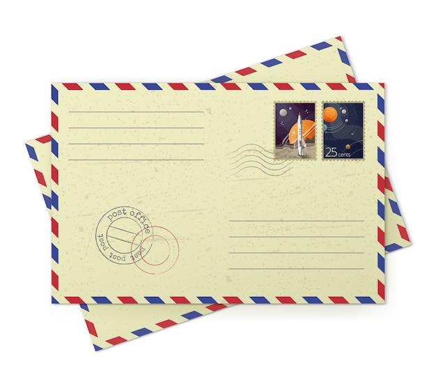 흰색 배경에 고립 된 우편 우표와 빈티지 항공 우편 봉투의 일러스트 레이터 프리미엄 벡터
