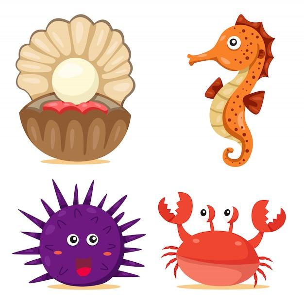 Illustrator of sea animal Premium Vector