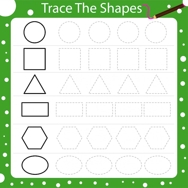 Illustrator of trace the shapes Premium Vector