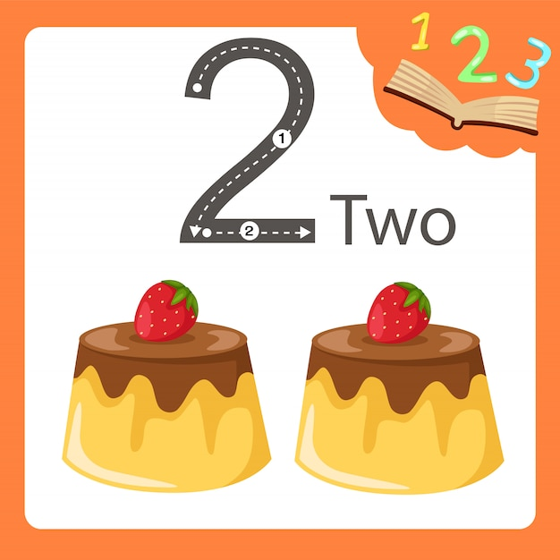 Illustrator of two number pudding Premium Vector