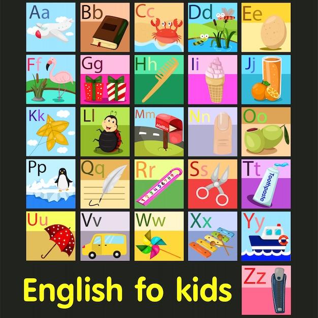 Illustrator of vocabulary a - z alphabet Premium Vector