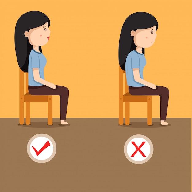 Illustrator of women sitting position on the chair Premium Vector
