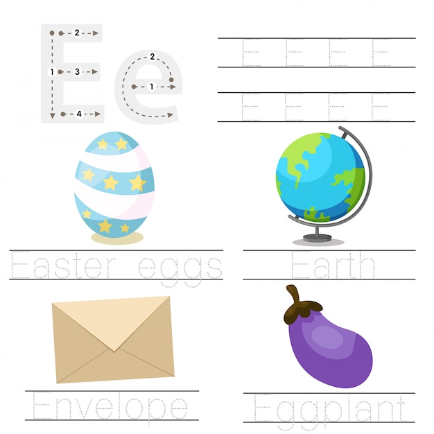 Illustrator of worksheet for children e font Premium Vector