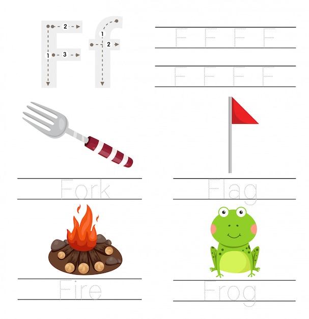 Illustrator of worksheet for children f font Premium Vector