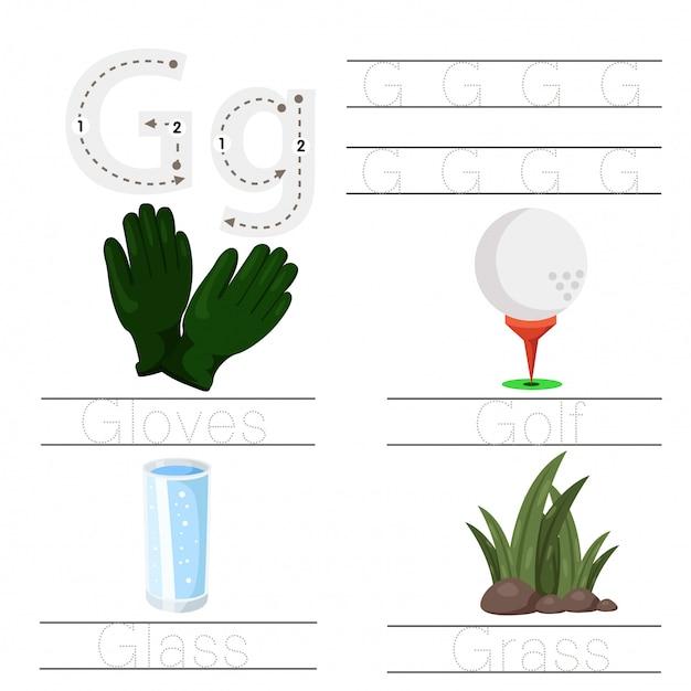 Illustrator of worksheet for children g font Premium Vector