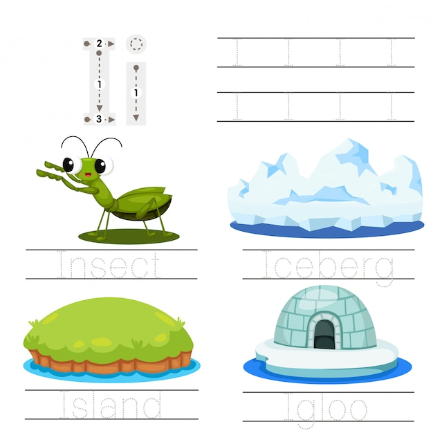 Illustrator of worksheet for children i font Premium Vector