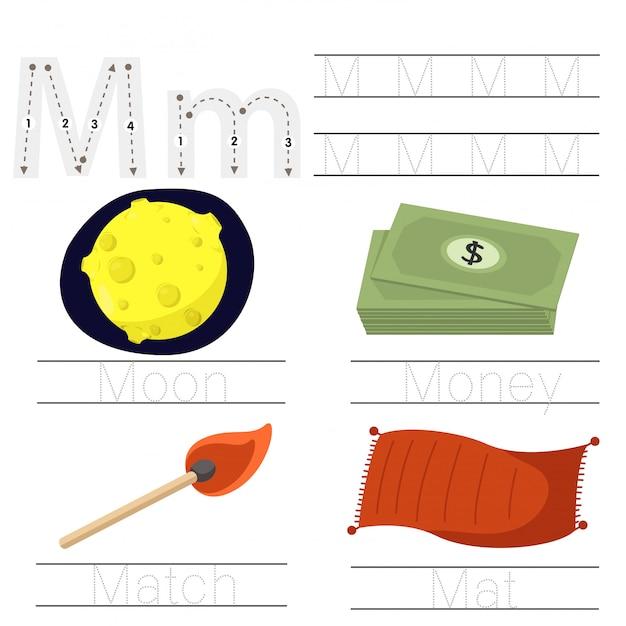 Illustrator of worksheet for children m font Premium Vector