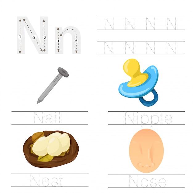 Illustrator of worksheet for children n font Premium Vector