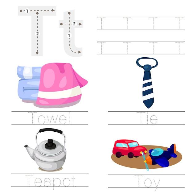 Illustrator of worksheet for children t font Premium Vector