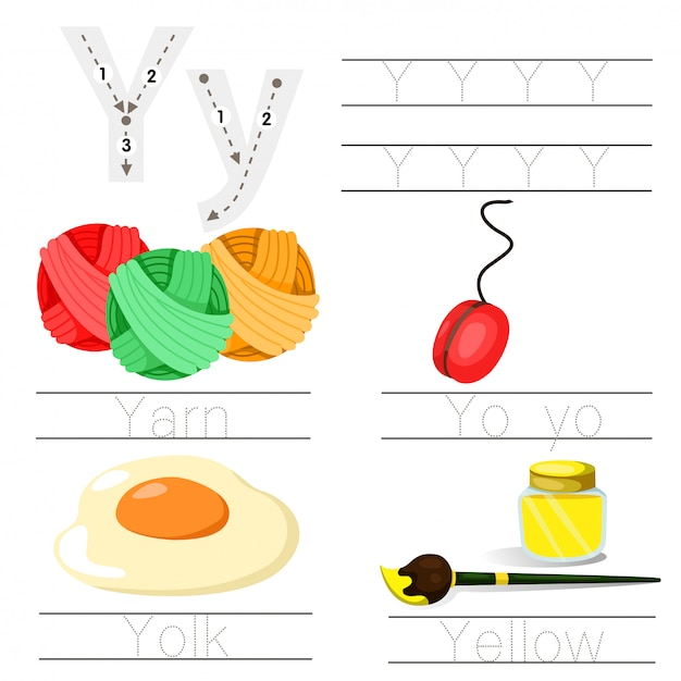 Illustrator of worksheet for children y font Premium Vector