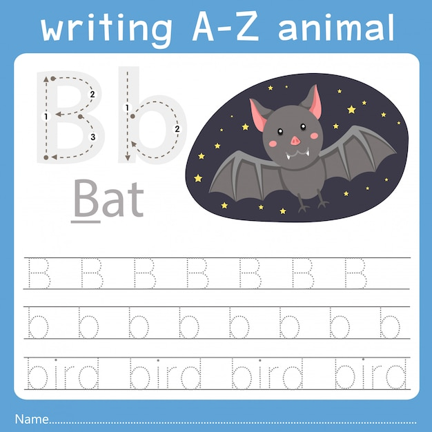 Illustrator of writing a-z animal b Premium Vector