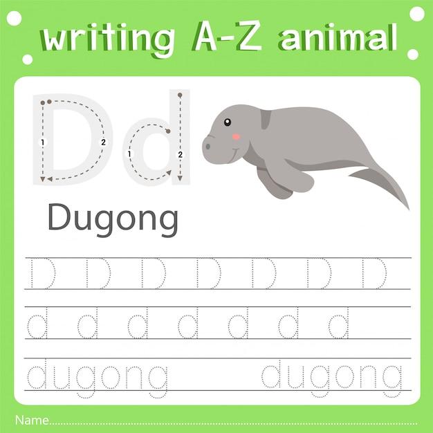 Illustrator of writing a-z animal d dugong Premium Vector