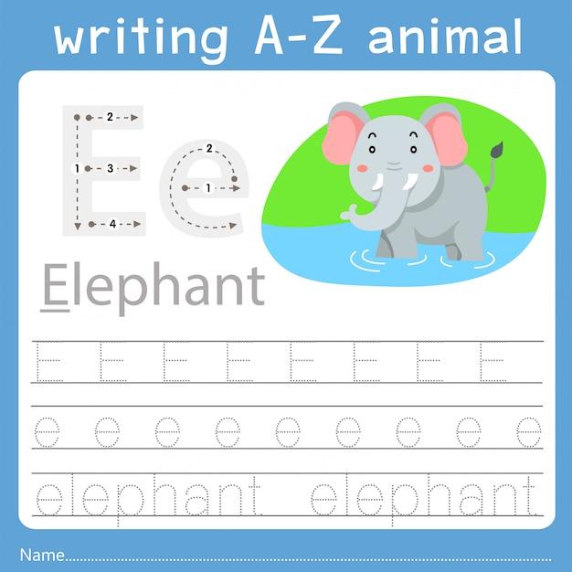 Illustrator of writing a-z animal e Premium Vector