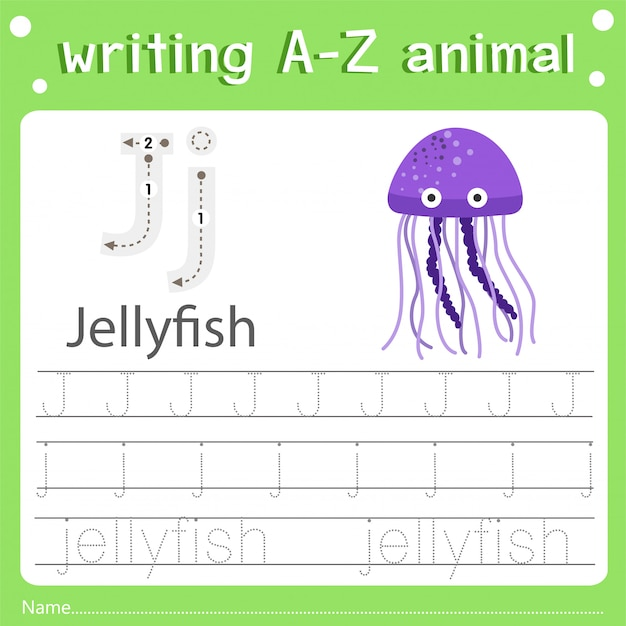 Illustrator of writing a-z animal j jellyfish Premium Vector