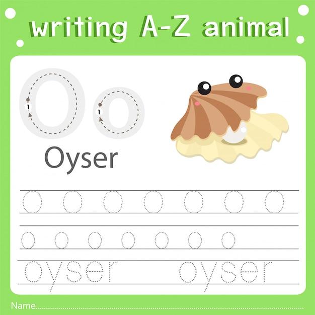 Illustrator of writing a-z animal o oyser Premium Vector