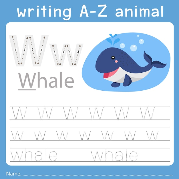 Illustrator of writing a-z animal w Premium Vector