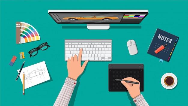 Дизайнерское рабочее место. рабочий стол illustrator с инструментами Premium векторы