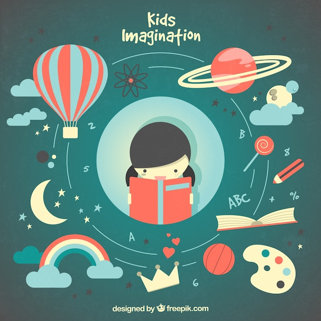 Ilustrated girl imagination Free Vector