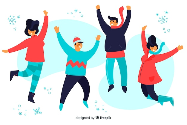 Ilustration young people wearing winter clothes jumping Free Vector