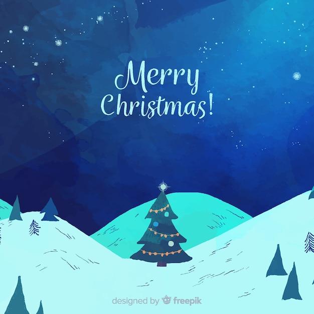 クリスマスツリーのilustrationの背景 無料ベクター