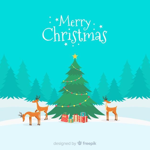 クリスマスの挨拶ilustrationトナカイのシーンの背景 無料ベクター