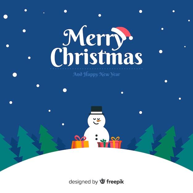 クリスマスの挨拶雪だるまのilustrationの背景 無料ベクター
