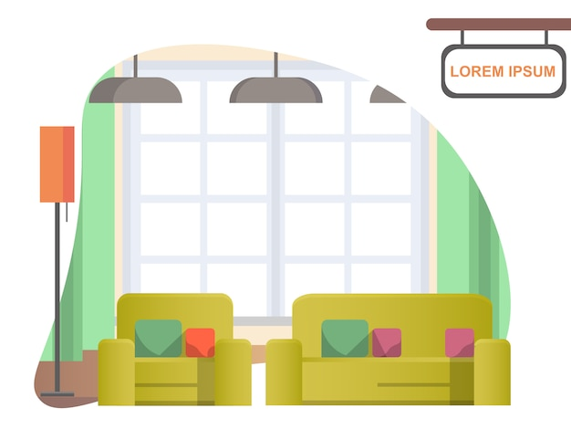 Image living room at home. cozy home interior Premium Vector