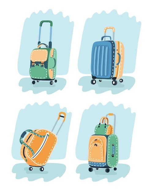 Изображение красного чемодана, сумки и походного рюкзака разных цветов. Premium векторы