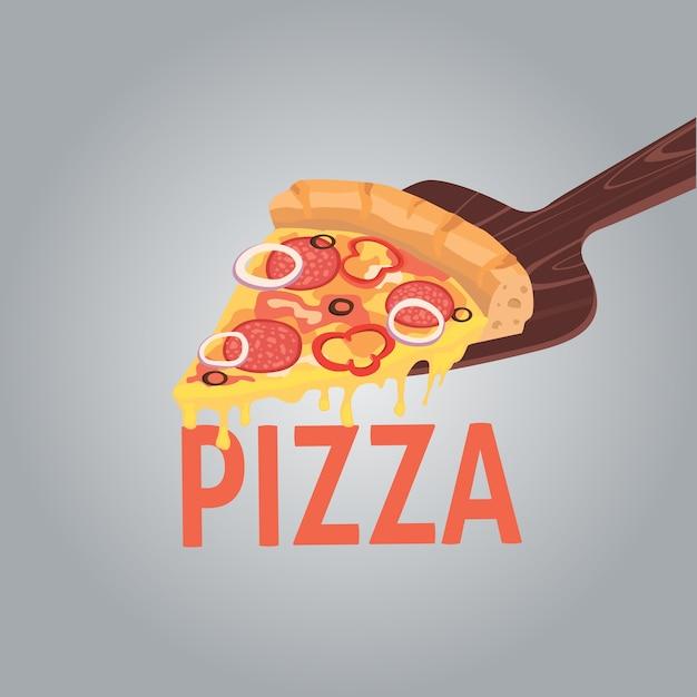 クリエイティブなピザの画像。あなたのレストランビジネスの宣伝のためのピザのスライス。漫画イラストペパロニ。 Premiumベクター