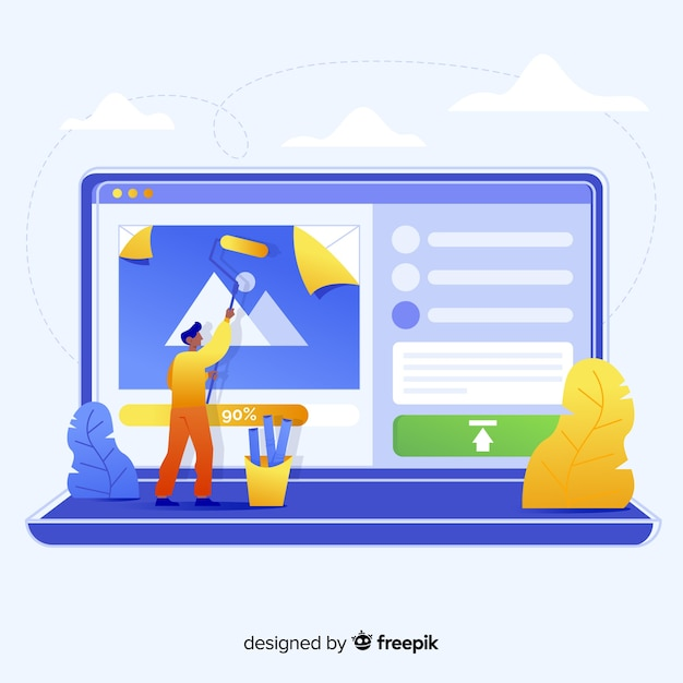 Image upload concept for landing page Free Vector