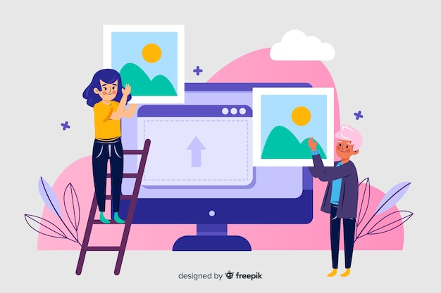Image upload landing page concept Free Vector