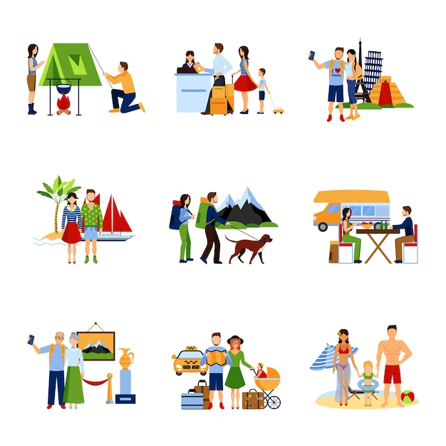 Images set of vacation options Free Vector