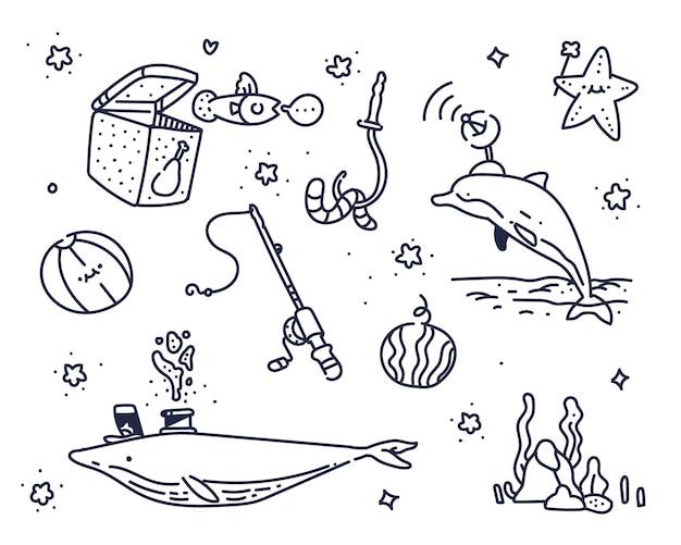 海についての想像力。海のかわいい落書き Premiumベクター