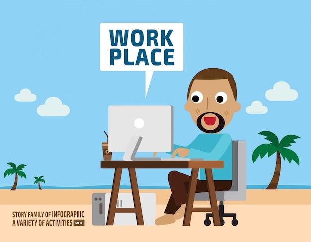 Imagination of work. business concept. infographic elements. Premium Vector