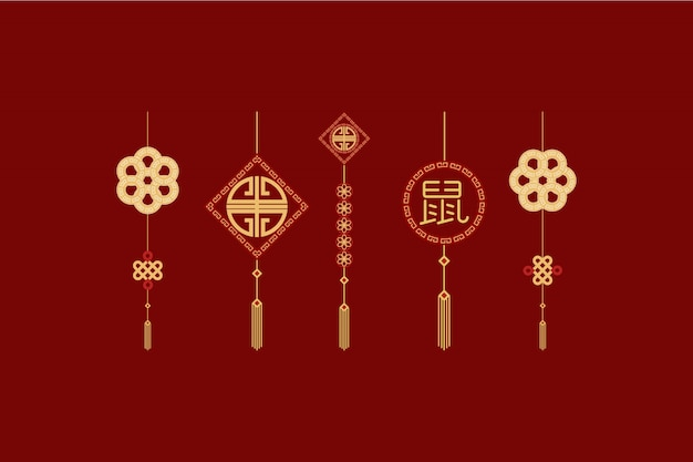 Imlek chinese new year template element set Premium Vector