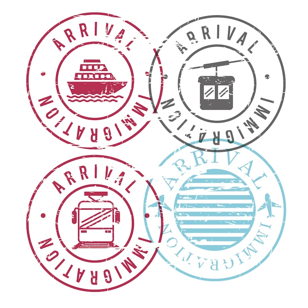 Immigration arrival circular stamps Premium Vector