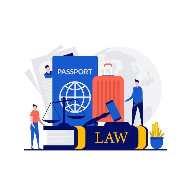 性格のある移民法の概念。パスポート、ビザ、スーツケース、正義のはかり、小槌裁判官が記載された法律書。ランディングページ、モバイルアプリ、ウェブバナー、インフォグラフィック、ヒーロー画像のモダンなフラットスタイル。 Premiumベクター