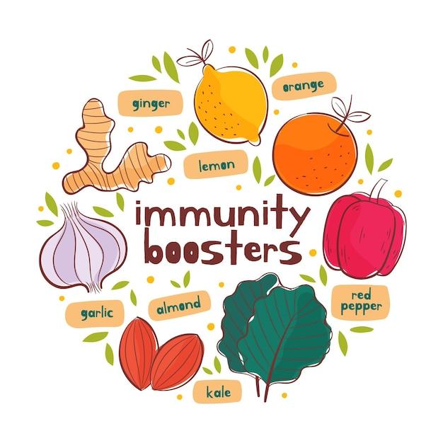 免疫システムのブースターのコンセプト 無料ベクター