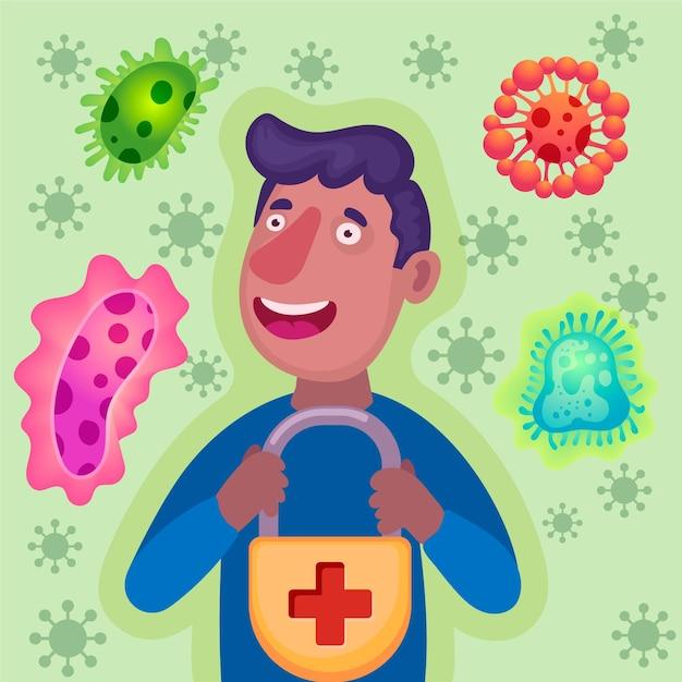 Illustrazione di concetto di sistema immunitario Vettore gratuito