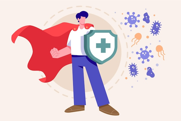 Immune system concept with shield Free Vector