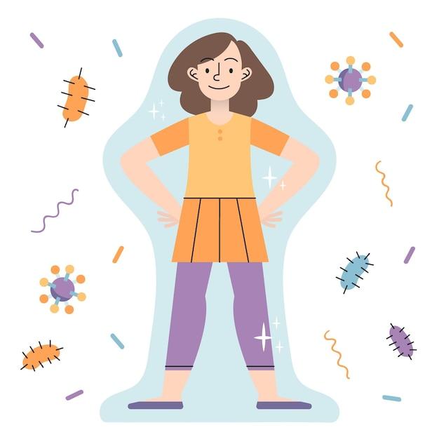 Concetto di sistema immunitario con donna Vettore gratuito