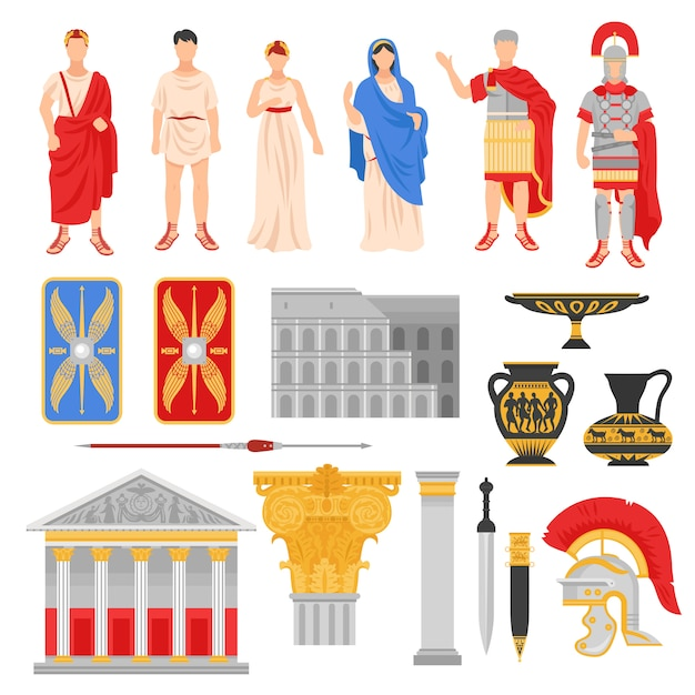 Imperial rome elements set Free Vector